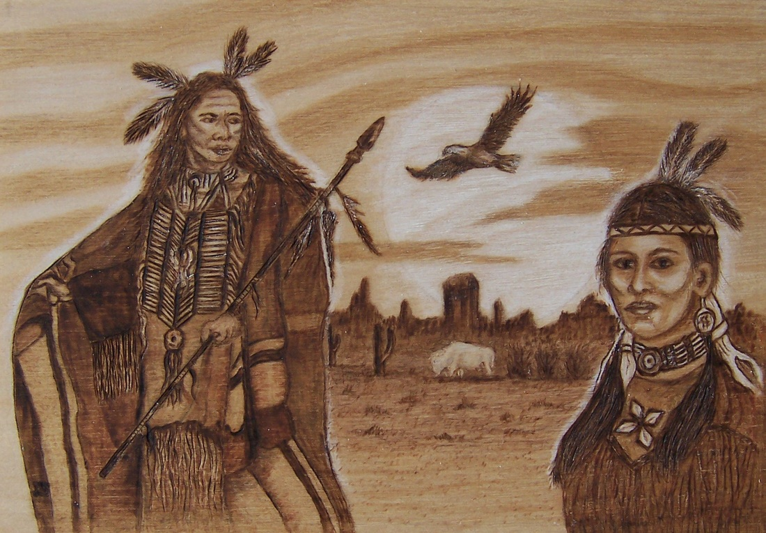 Native American Couple Danette Smiths Pyrography And Easels
